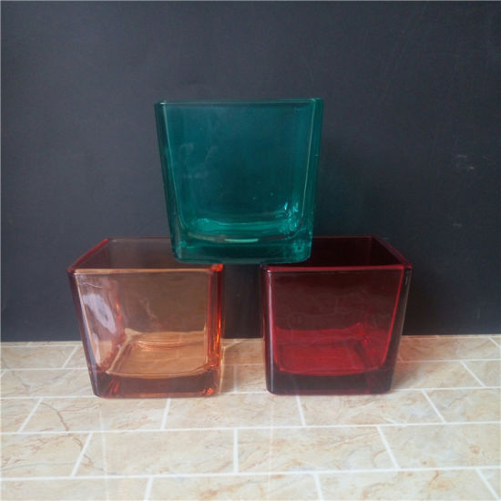 10oz Cubed Shaped Glass Candle Jars with Spraying Color pictures & photos
