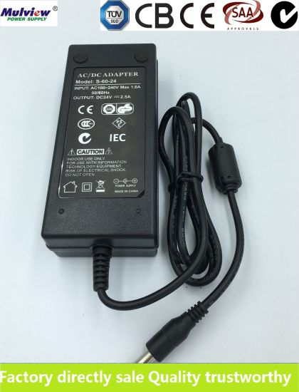 24V2.5A 60W AC DC Switching Power Adapter Desktop Type