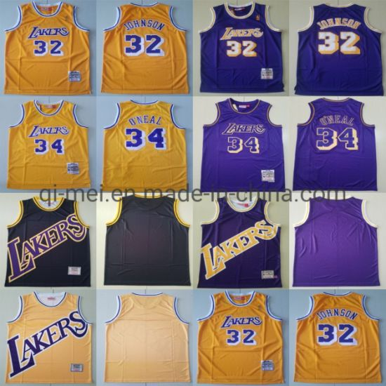 2020 Newest Lakers 32 Magic Johnson 34 Shaquille O'neal Basketball Jerseys
