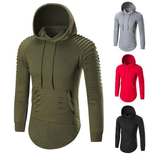 Men Custom 100% Heavy Warm Cotton Knitted Pullover Running Gym Athletic Sport Men's Blank Sweatshirt Hoodies
