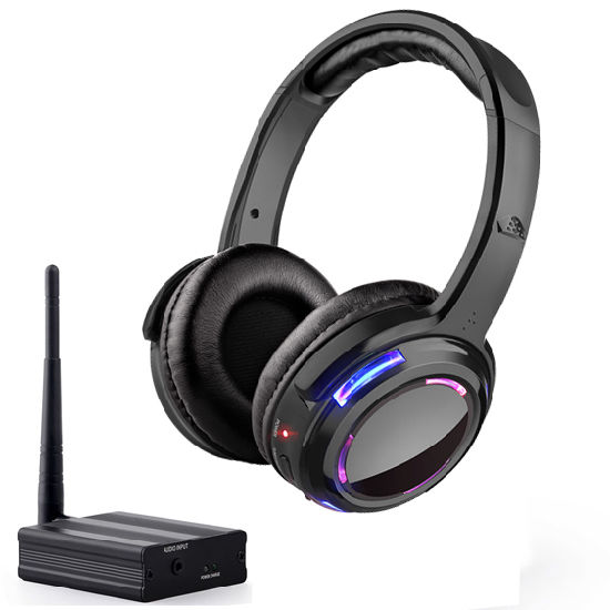 Wireless Silent Disco Headphones and Transmitter 3 Channels with LED Light Flashing