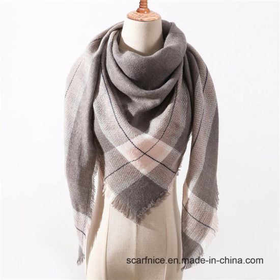 9449c068e12d0 Designer Brand Women Scarf Fashion Plaid Winter Scarves for Ladies Cashmere Shawls  Wraps Warm Neck Triangle Bandage Pashmina