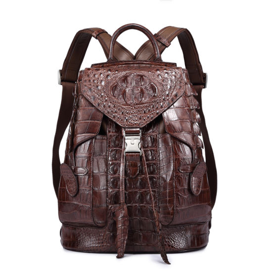 Men Genuine Crocodile Skin Back Pack Custom Leather Designer Backpack