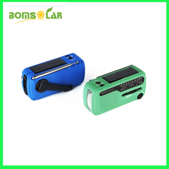Solar Powered Hand Crank Dynamo Radio, FM/Am/Sw/Noaa 4 Bands Multifunction Radio with Flashlight and Mobile Phone Charger