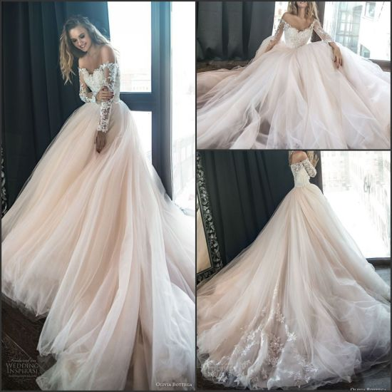 China Shinny Lace Bridal Ball Gowns Champagne Tulle Princess