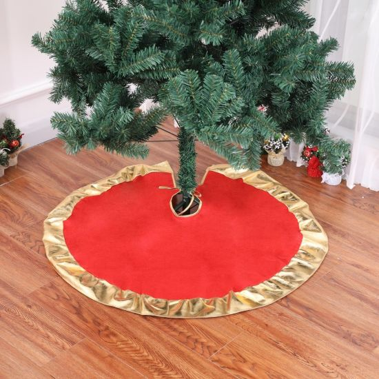 Christmas Item 90cm Red Gilt Christmas Tree Skirt pictures & photos