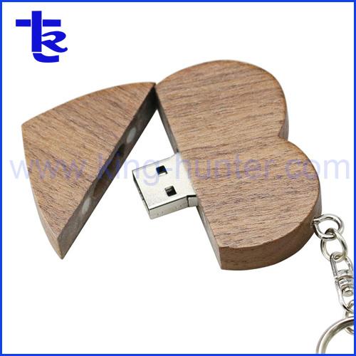 Heart Shaped Wooden USB Flash Drive Promotional Gift Custom Logo