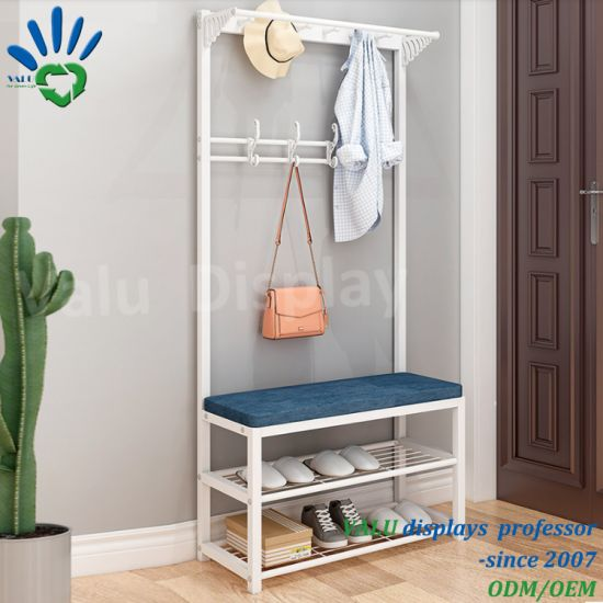Customized Storage Shelf Stacking Racks Clothes Hanger Rack with Shoe Stand pictures & photos