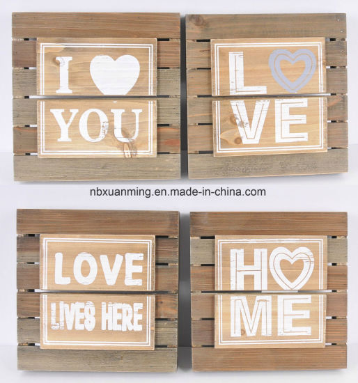 Real Wood Handicraft Wall Decor Signs Wooden Plaque 24x24cm Home Decoration