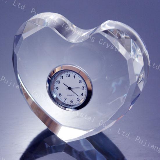 Custom Unique Engraved K9 Crystal Small Desk Clock For Souvenir Gift