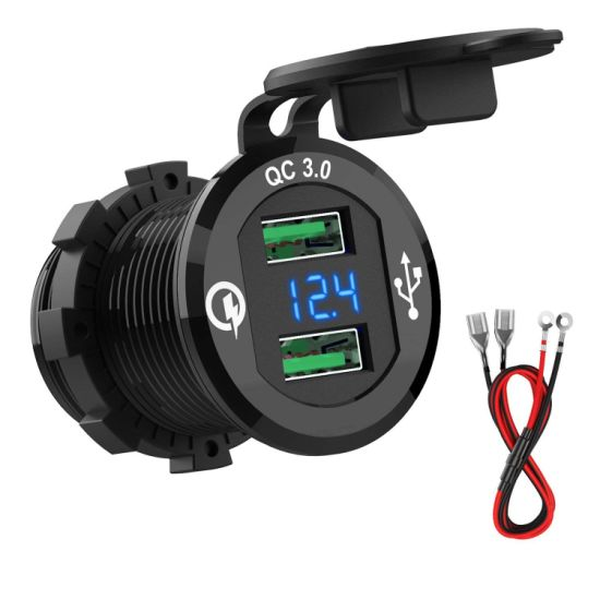 Marine USB Outlet, Waterproof QC3.0 Dual USB Charger Socket with Voltage LED Digital Display