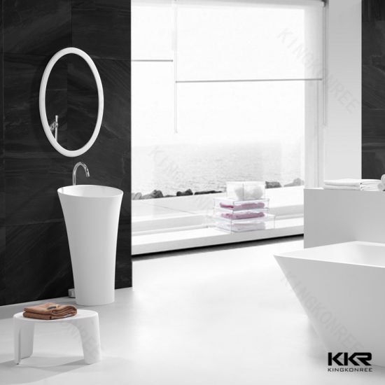 China Freestanding Pedestal Basin Stone Solid Surface Bathroom Double Sink China Bathroom Basin Solid Surface Basin