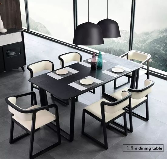 China Nordic Design Apartment Furniture Wood Dining Table Set 6 Chairs China Wooden Dining Table Dining Room Table