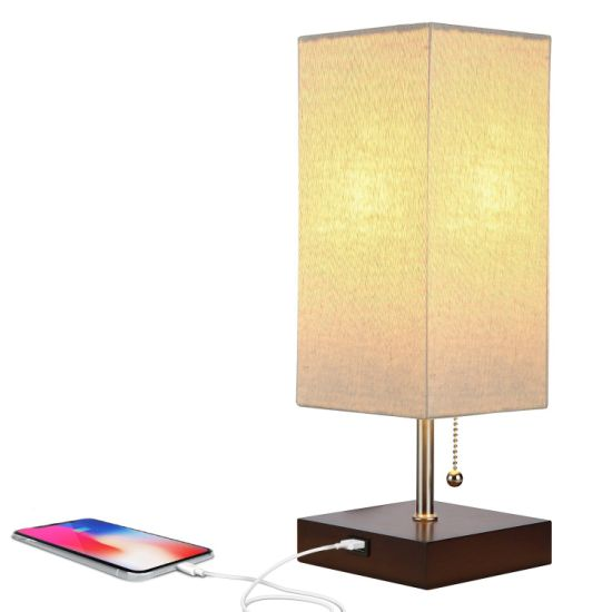 Jlt-15656 Modern Bedroom Beside 2.1A USB Charing Table Lamp with USB Port