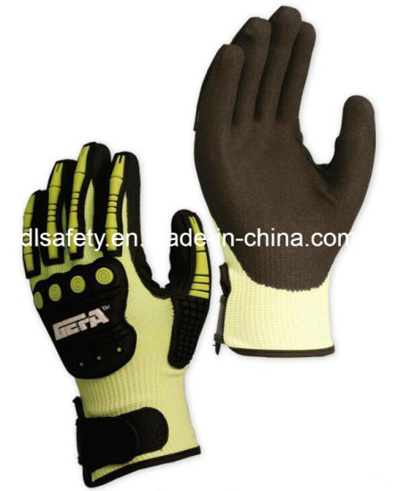 13 Gauge Hppe Cut Resistant Level B Anti-Impact Glove, with Black Sandy Nitrile Dipping on Palm