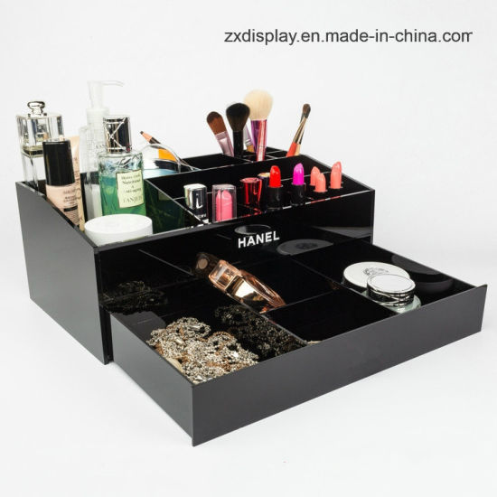 Black Cosmetics Storage Box Chanels Acrylic Makeup Organizer with Drawer