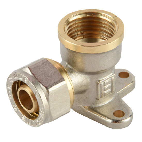 Brass Body Wall Mounting Female Elbow with EPDM Sealing O-Ring