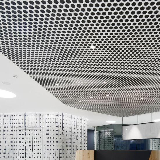 Aluminum Ceiling Panels Baffle Clip-in Strip Perforated Aluminium Metal Linear Suspended Acoustic Panel Interior Decoration