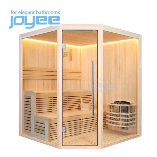 Joyee Bathroom Diamond Indoor Hemlock Cedar Poplar Pine Ozone SPA Sauna Bath Wet Steam Dry Wooden Sauna Room for 2 4 Person