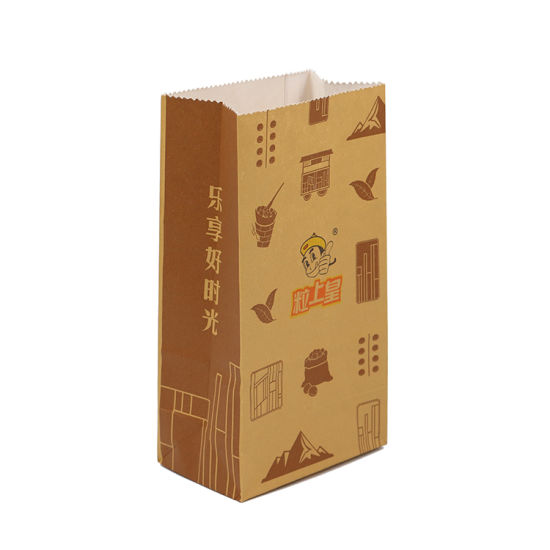 Take Away Fast Food Bag Packaging Degradable Kraft Paper Bags