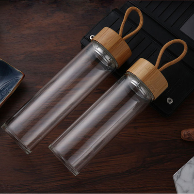 Portable Bamboo Lid Clear Glass Drinking Water Bottle Promotional Sport Tea Bottles 2020 Hot Sale
