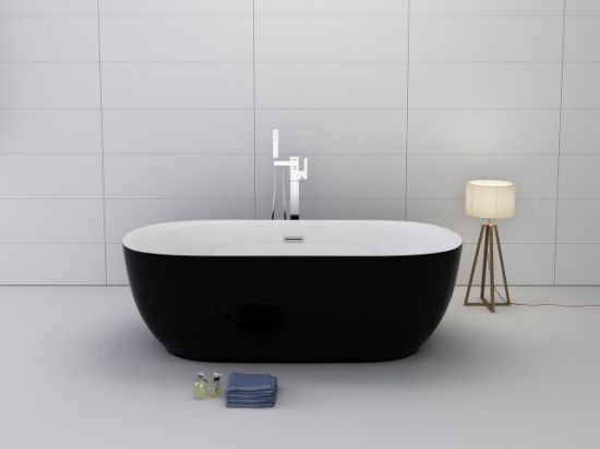 Black Color Soaker Stand Alone Bathtub