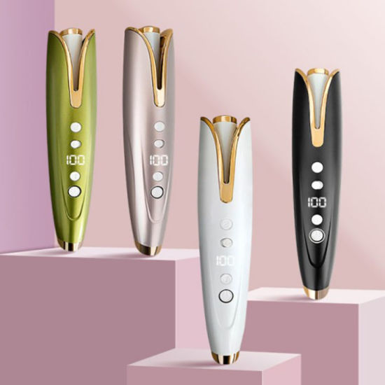Wholesale Customized Private Label LCD Display Temperature Control Wireless PTC Fast Heating Hair Curler