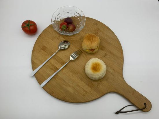 Round Shaped Bamboo Pizza Serving Cheese Cutting Board with Handle