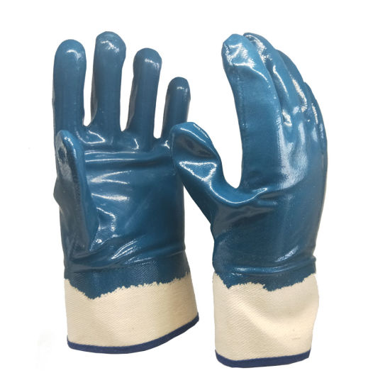 Model Better Grip Heavy Duty Premium Nitrile Rubber Fully Coated Gloves Smooth Blue Chemical Resistant