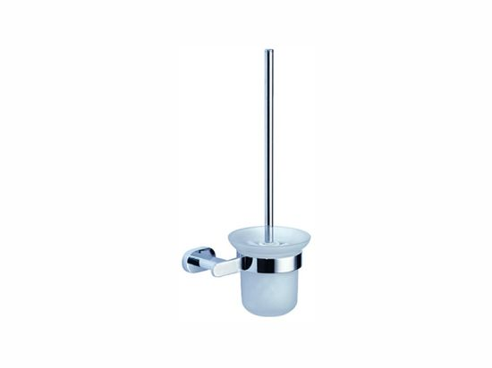 Bathroom Toilet Brush and Holder Set with Cup, Brass and Chrome Light Finish Toilet Brush Storage Wall Mounted Long Handle