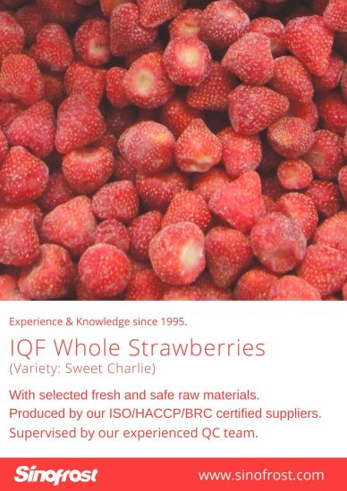 IQF Whole Strawberries, Calibrated, IQF Whole Strawberries, Uncalibrated, IQF Strawberries, Frozen Strawberries, Wholes/Halves/Dices/Slices/Puree/with Sugar