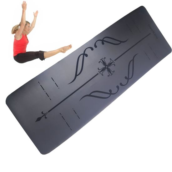 Eco Friendly Extra Thick Anti Slip Alignment Line Natural Rubber Easy Clean Custom PU Leather Rubber Yoga Mat