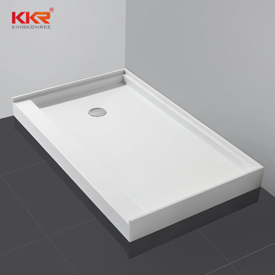 Kkr White Solid Surface Acrylic Hotel Project Shower Pan