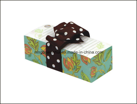 Printed Paper Note Cube with Pen Hole and Ribbon
