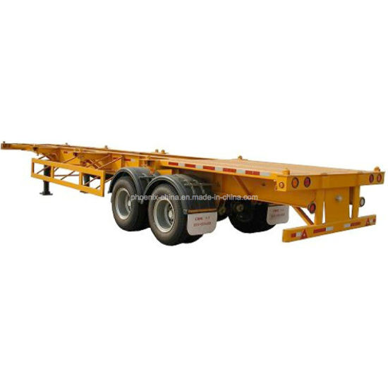 China 2 Axles Flatbed Semi-Trailer/40feet Frame Container Semi ...