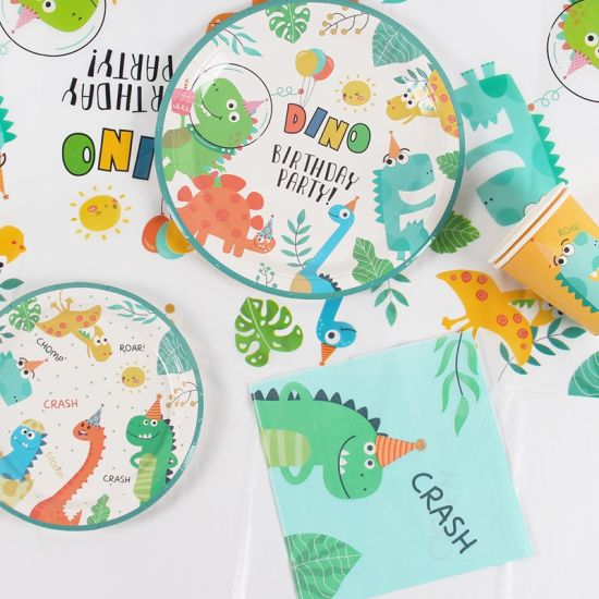 Dinosaur Theme Baby Shower Favor Party Dinosaur Balloon Disposable Tableware Set Kids Boy Birthday Party Decoration Jungle Party