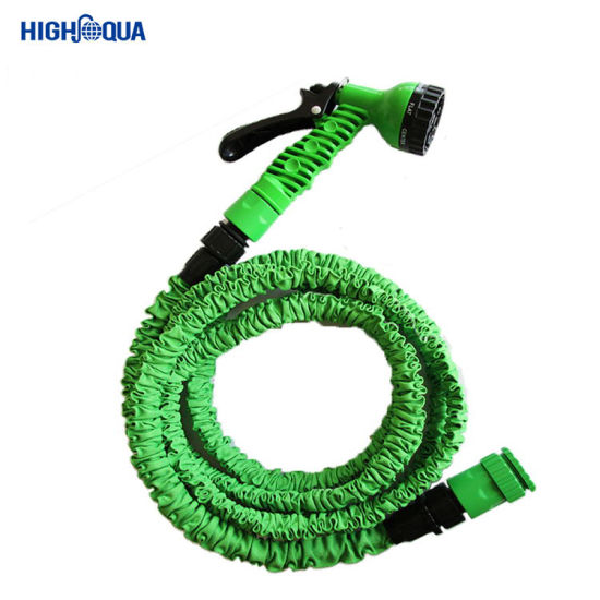Color Flexible 50 FT Rubber Garden Hose with High Pressure Nozzle