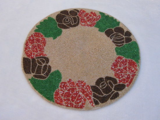 !Beautiful Hand Applique Rose Embroidery Oval Shape Cotton Table Topper Placemat