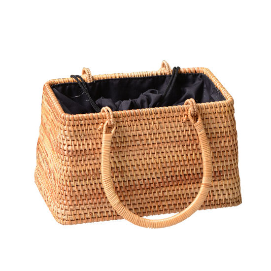 Handwoven Trapezoid Rattan Bag Natural pictures & photos
