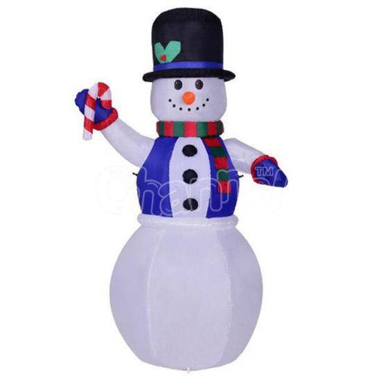6 Feet Christmas Inflatable Blue Vest Snowman LED Lights Yard Garden Decoration