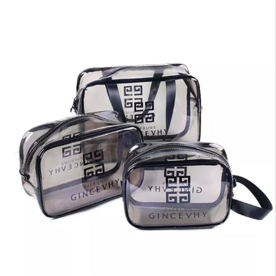 Fashion Women Clear Cosmetic Bags PVC Toiletry Bags Travel Organizer Necessary Beauty Makeup Bag with Zipper pictures & photos