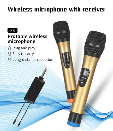 UHF VHF Wireless Microphone System High End 2 Handheld Microphones Studio Wireless Microphone for PC and Speaker