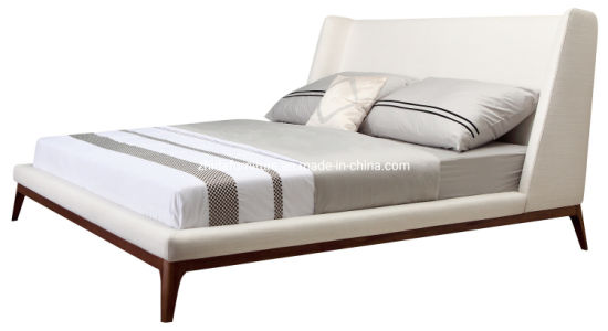 Chinese Modern Fabric Bedroom Furniture Leather Double Bed