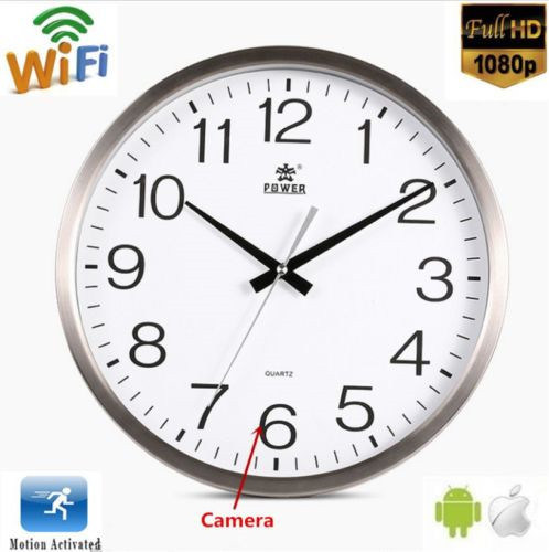 FHD 1080P WiFi Wall Clock Camera Motion Detection Video Record Cam