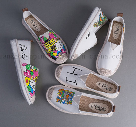 Custom DIY White Scrawl Doodle Plimsolls Canvas Shoes