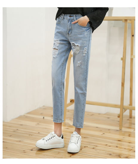2018 Factory Wholesale Custom High-Rise Skinny Destructed Edition Denim Jeans Sexy Women pictures & photos