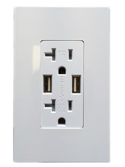 20A, 125V, Decora Tamper-Resistant Receptacle/Two Ports, 5VDC, 4.0A USB Chargers