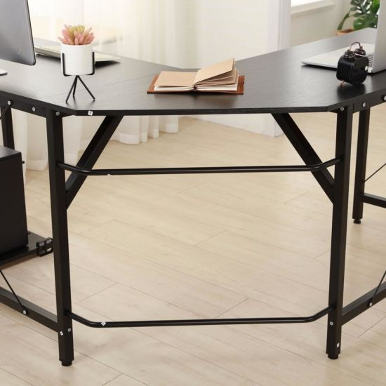 Modern Design L Shaped Desk Corner Computer Pc Laptop Table Study Home Office Wood Metal Black