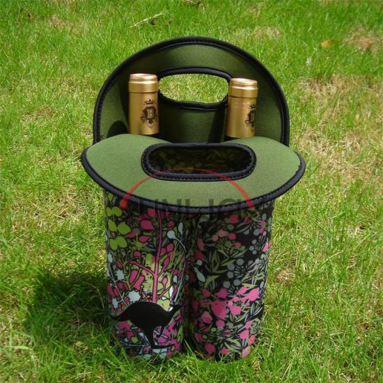 Printed Neoprene Wine Bottle Holder, 2 Bottle Cooler Bag (BC0049) pictures & photos