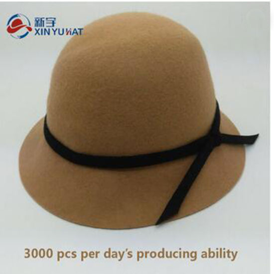 Fashion Wholesale Winter Girl Wool Felt Bucket Hat pictures & photos